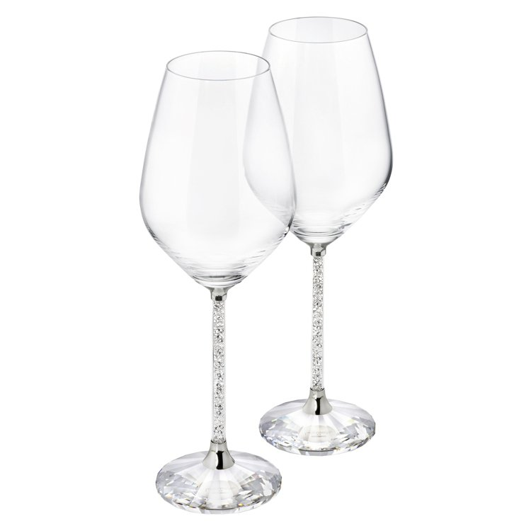 施華洛世奇 CRYSTALLINE銀色白酒杯(一對)/13,200元。圖/施華洛...