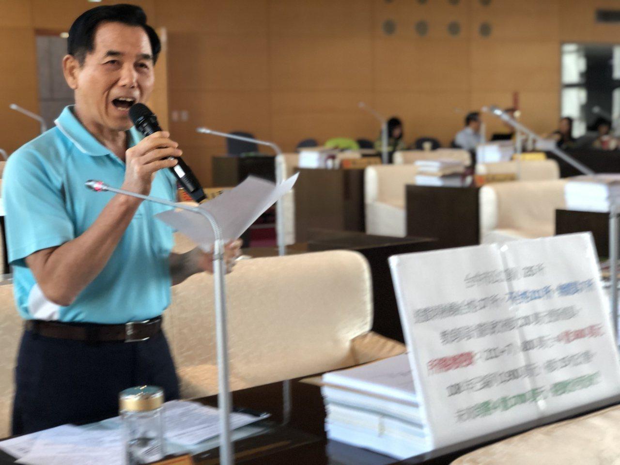 市議員吳敏濟希望校園遊具更新要加快速度。記者陳秋雲/攝影