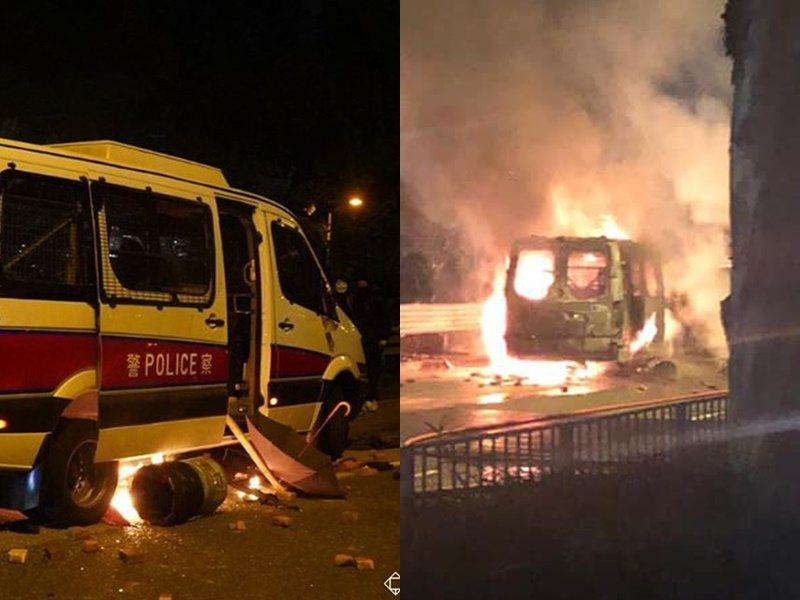 香港沙田警方所駕車輛被焚毀。圖/取自星島網