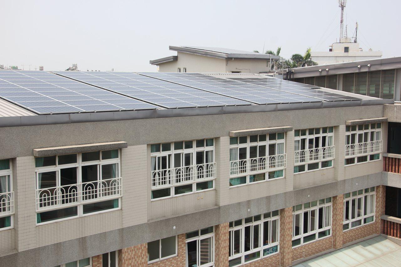 彰化縣政府進行校園種電,在校舍屋頂裝太陽能板,全校已有195所學校參與,種電綠金...