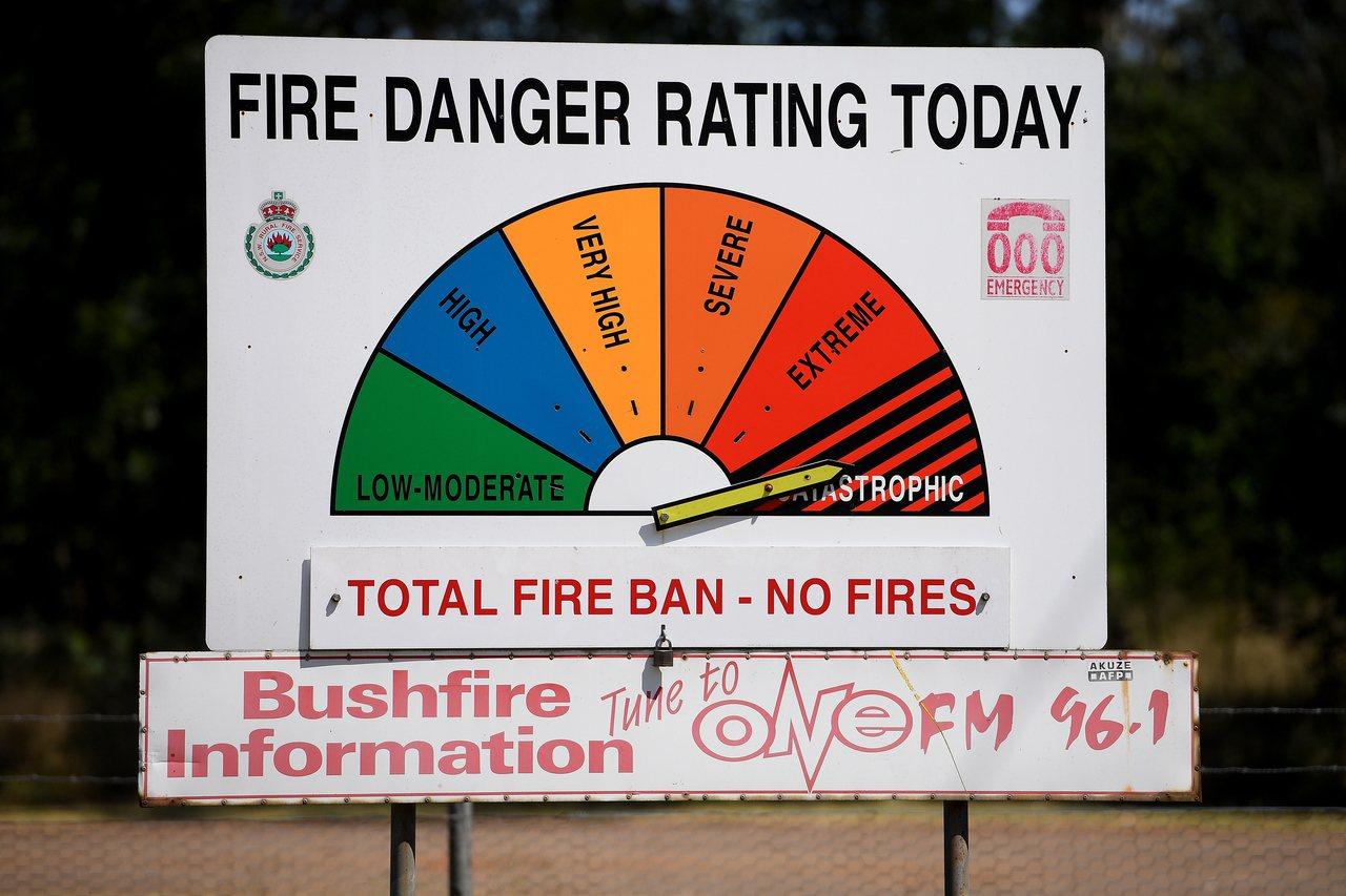 圖為澳洲野火災情危險評級表。歐新社