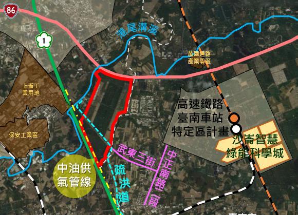 沙崙智慧綠能科學城及周邊圖。