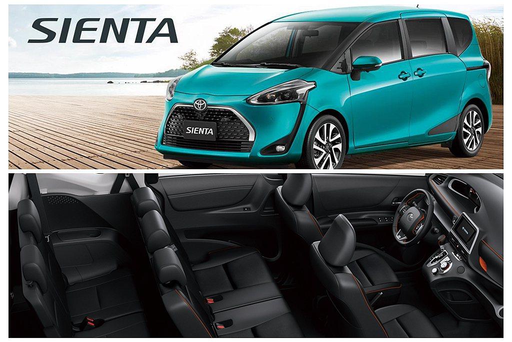 小改款Toyota Sienta具備1.5L、1.8L,5人與7人座兩種,平均油...