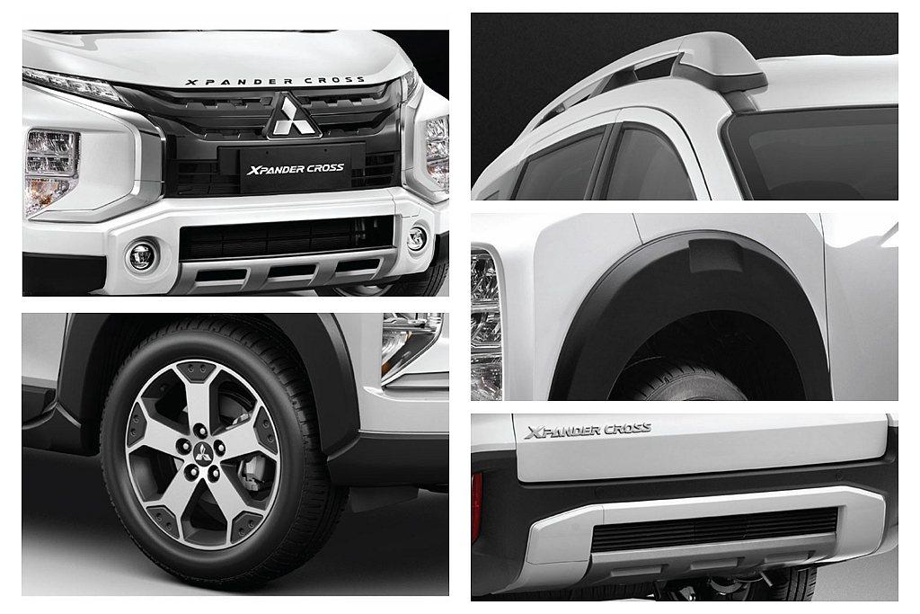 三菱Xpander Cross擁有新版水箱護罩,下保桿造型也刻意放大霧燈面積,搭...