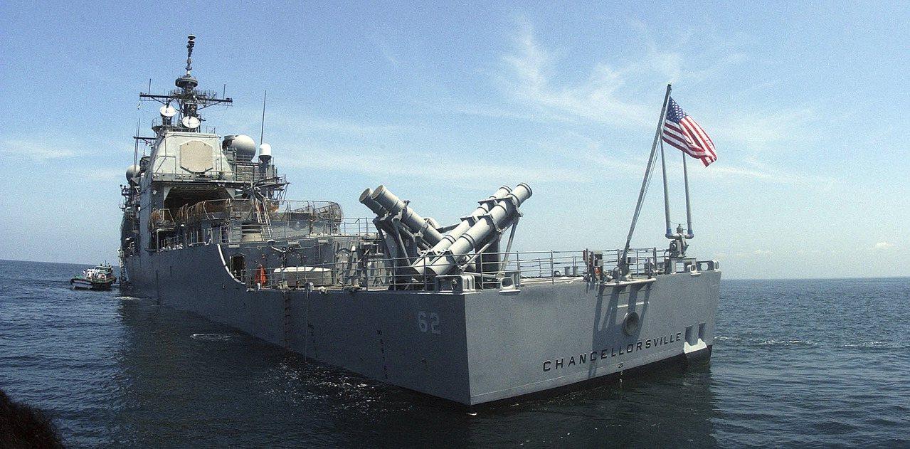 美國海軍巡洋艦昌塞勒斯維號12日行經台灣海峽。圖為該艦檔案照。美聯社
