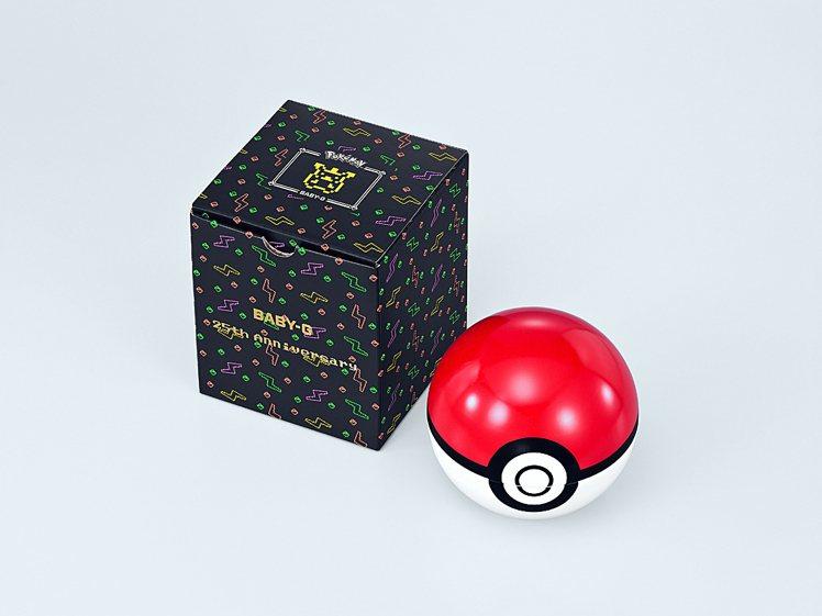 Baby-G把紅白配色的精靈寶貝球化作收藏表盒,連包裝紙盒也帶有霓虹色調的皮卡丘...