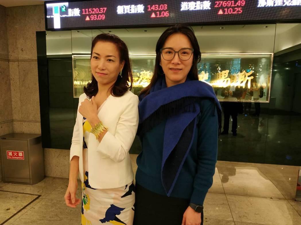 珠寶首飾代工廠日成今(12)日參加證交所法說會,左起為日成副總經理林緧頤、總經理...