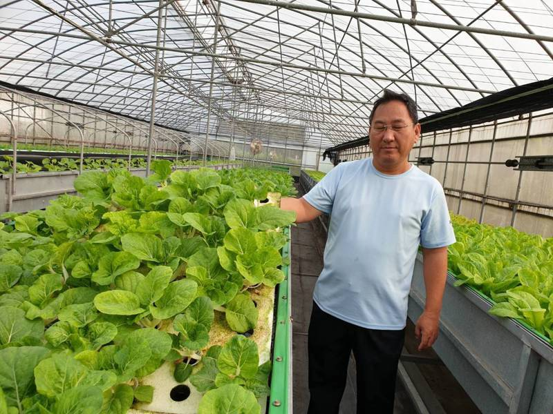 50歲的屏東市儂友洪義鵬,利用電機工程的專長,研發出循環水的利用進行魚菜共生。記者江國豪/攝影
