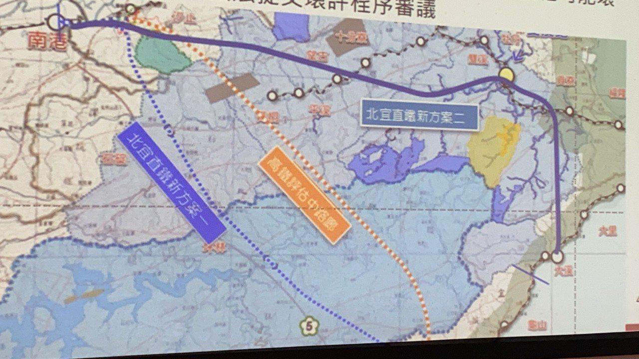 高鐵延伸宜蘭路線首度曝光。鐵道局表示,初評結果高鐵延伸宜蘭優於北宜直鐵,而高鐵路...