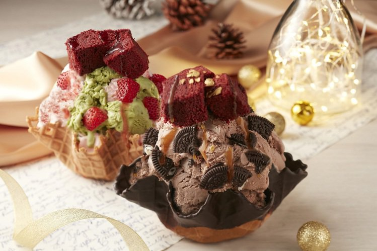 COLD STONE於11/15起,推出新品「巧克金聖誕」、「聖誕紅寶石」。圖/...