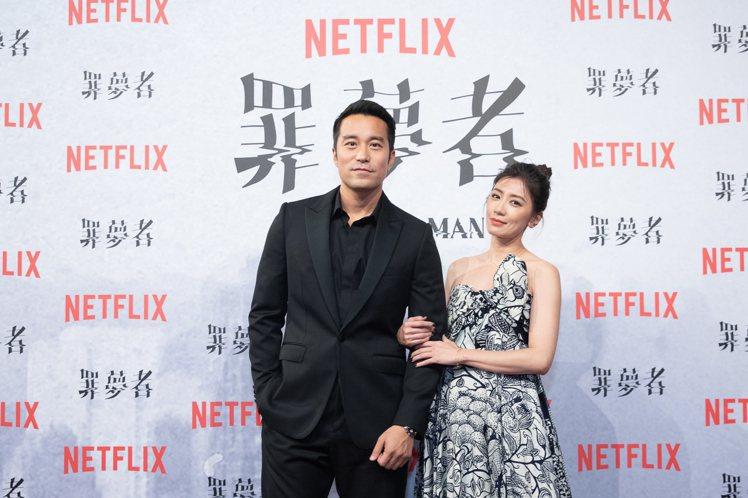 張孝全在「罪夢者」首映會上穿的是CELINE黝黑色劍領訂製晚宴西裝。圖/Netf...