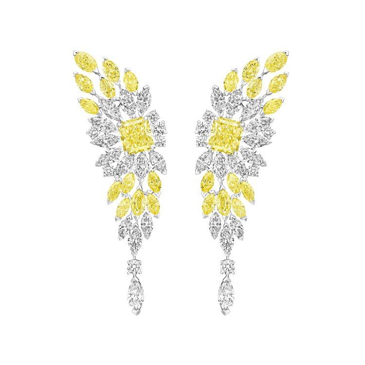 Piaget Golden Oasis「黃金時刻」黃鑽頂級珠寶鑽石耳環,主石為2...