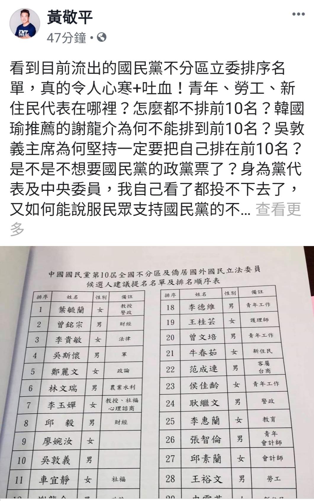 桃園市議員黃敬平下午在臉書PO文。記者鄭國樑/翻攝