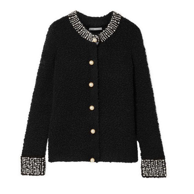 11月21日每日一物-Alice+Olivia珍珠緄邊黑色前開襟外衫,原價20,...
