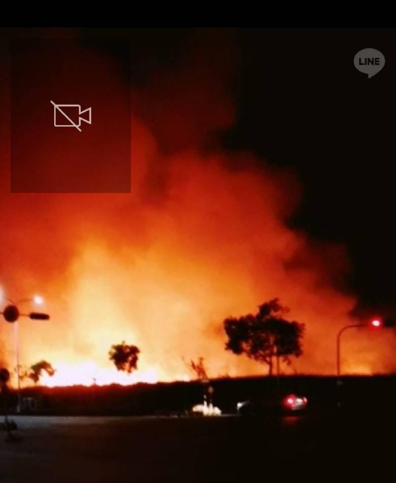 嘉義縣太保市高鐵大道旁的甘蔗田發生大火。 圖/讀者提供