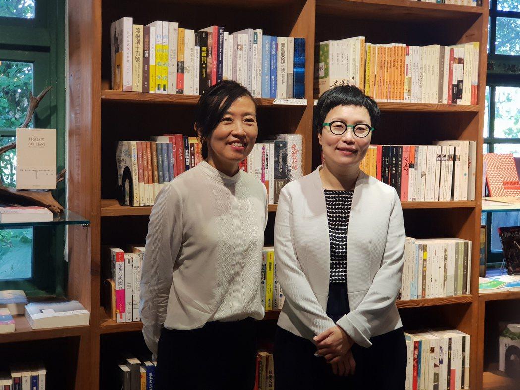 文策院董事長丁曉菁(右)、文策院院長胡晴舫(左)。 記者陳宛茜/攝影