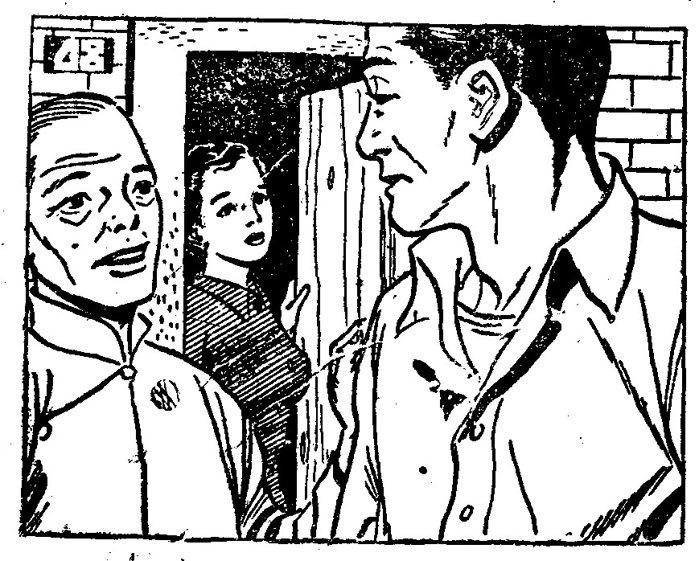 《聯合報》,1952年6月16日,第5版「田園之戀」連載小說插圖,男女主角戀情即...
