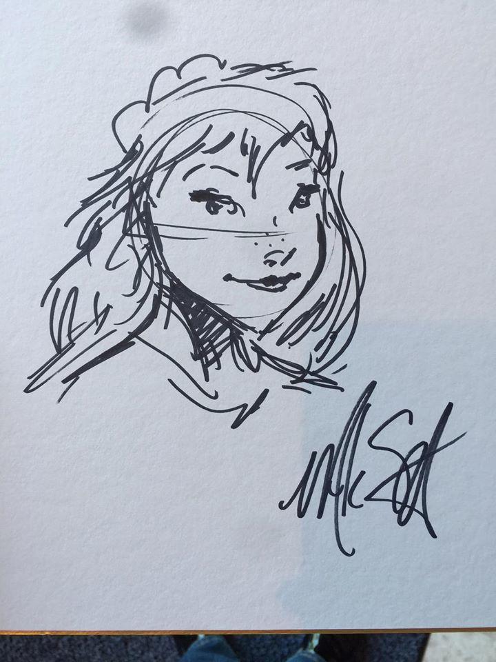 「冰雪奇緣2」故事指導總監馬可史密斯親筆繪製的安娜。記者蘇詠智/攝影