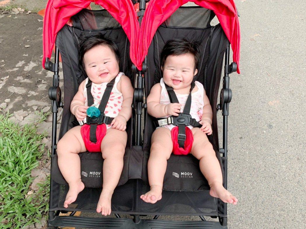 把握黃金療癒期,在個管師協助下,官小姐雙胞胎早產姐妹成長追上足月兒。圖/官小姐提...