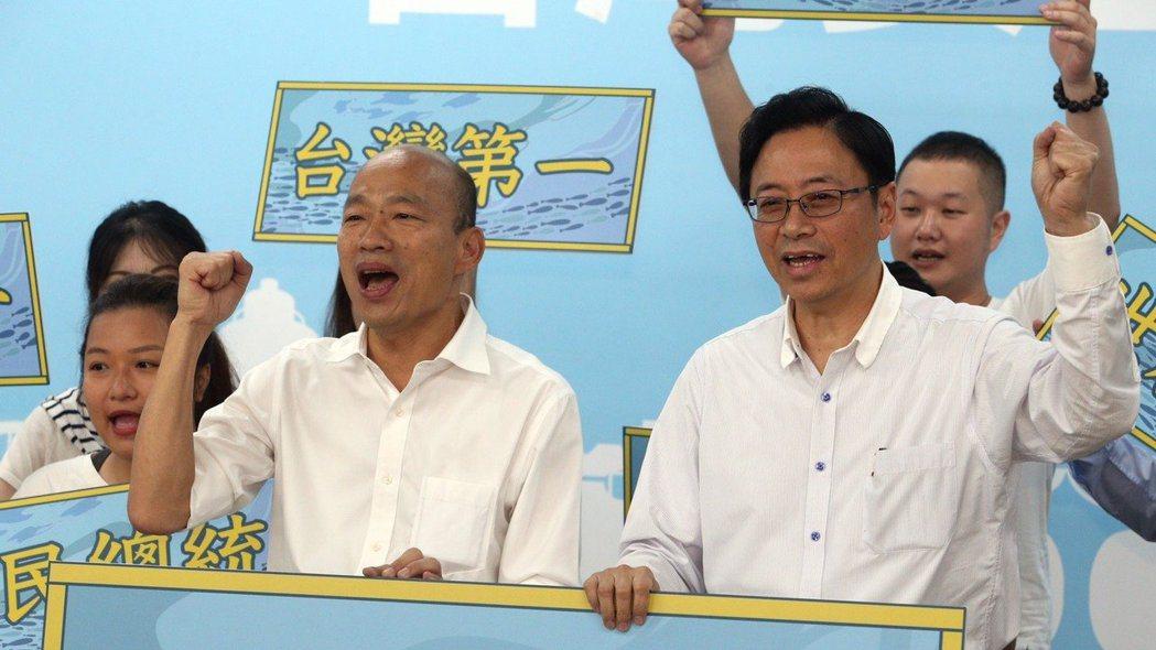 張善政(右)出任國民黨總統參選人韓國瑜(左)副手。 報系資料照