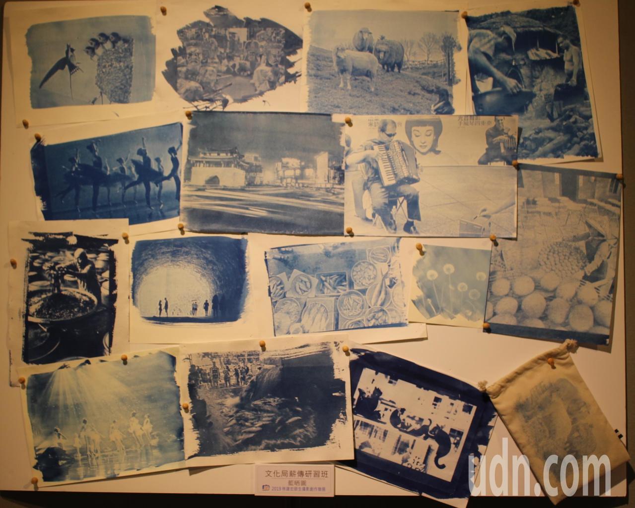攝影師林建宏說,透過攝影映像原理的「藍晒圖」組合作品展出,可以呈現攝影的多樣性以...
