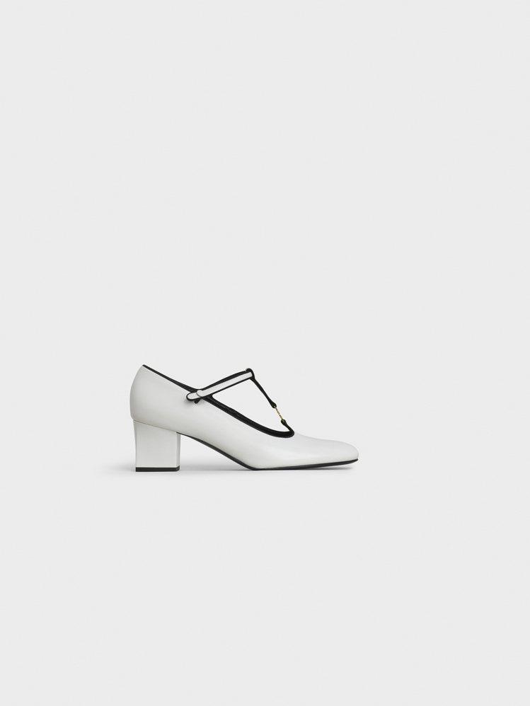 CELINE Babies白色拋光小牛皮瑪麗珍鞋,售價27,000元。圖/CEL...