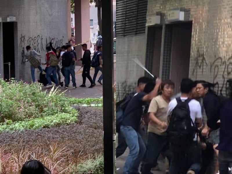 逾10人圍毆黑衣人。圖:取自星島日報網站