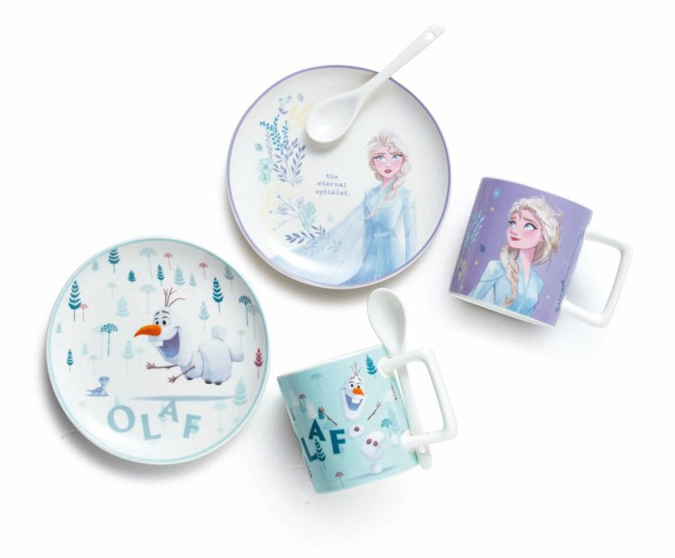 HOLA特力和樂《冰雪奇緣2》杯盤組附匙,原價699元、特價499元,共有Els...