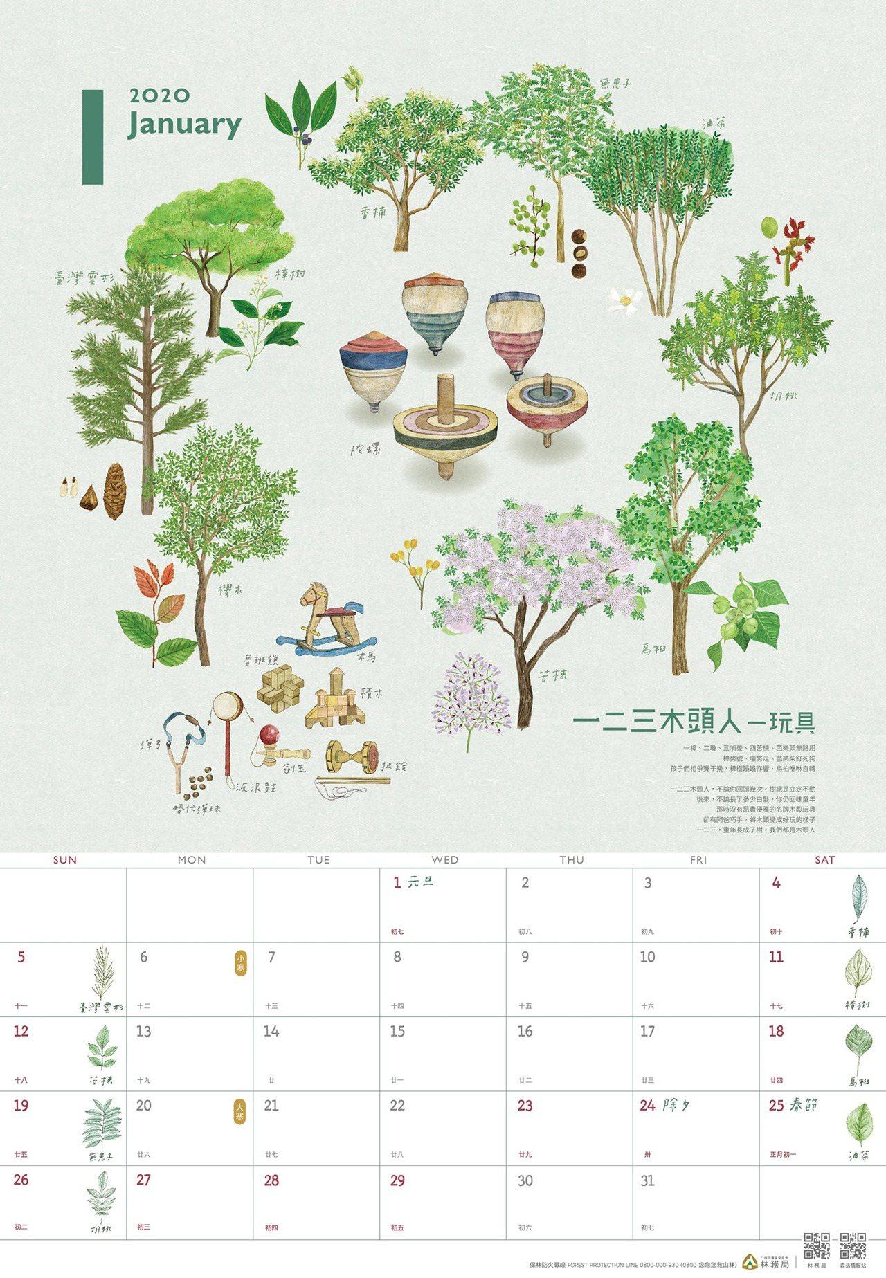 林務局2020年月曆。圖/取自林務局臉書粉絲團