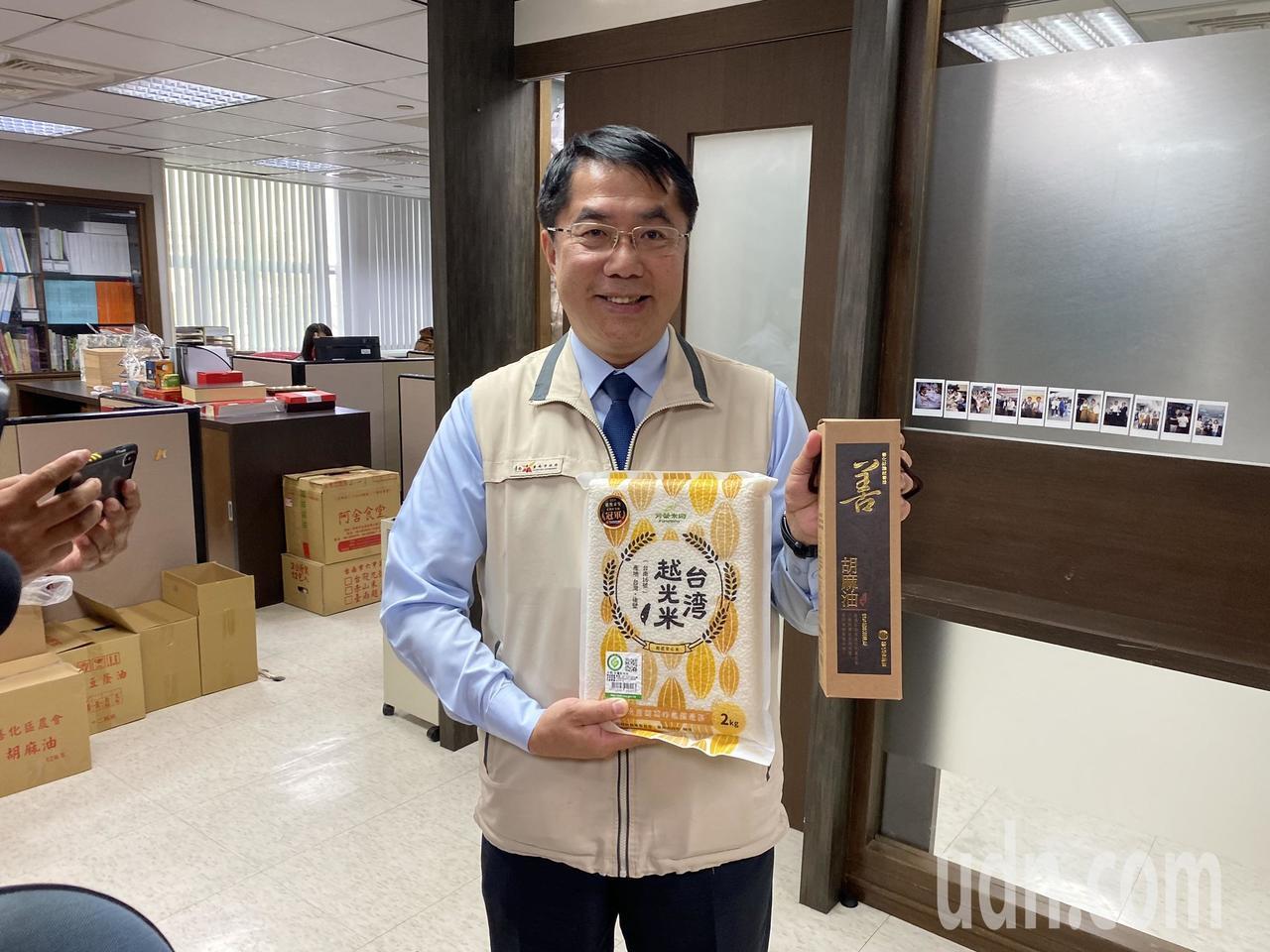 台南市長黃偉哲將送越光米、麻油等,作為林志玲的嫁妝。記者鄭維真/攝影