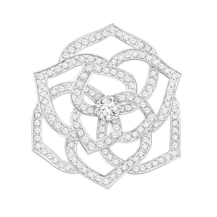 伯爵表Rose系列胸針,18K白金鑲鑽,,約47萬8,000元。圖/Piaget...