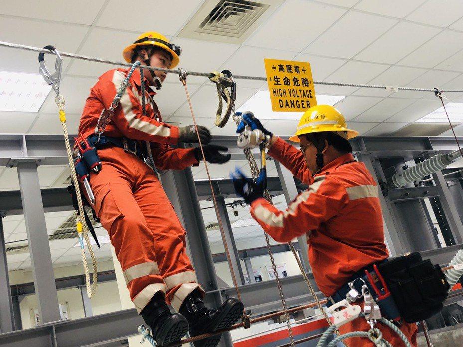 高鐵電車線維修人員在室內「電車線系統訓練教室」模擬訓練。記者曹悅華/攝影