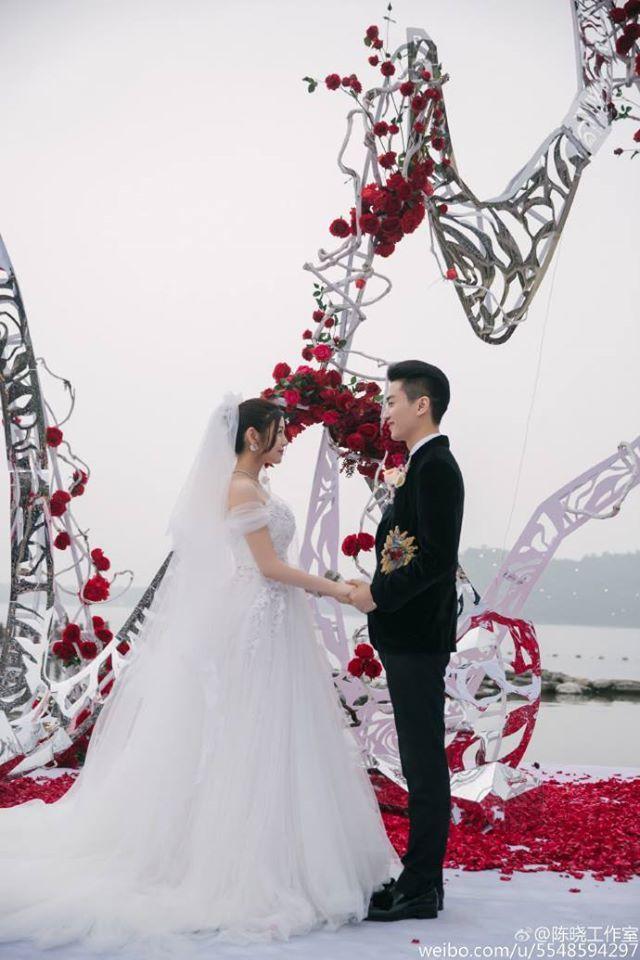 陳妍希在婚禮上穿Alberta Ferretti婚紗。圖/摘自微博