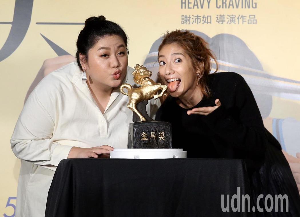 柯淑勤(左)、蔡嘉茵(右)出席電影【大餓】首映會。記者徐兆玄/攝影