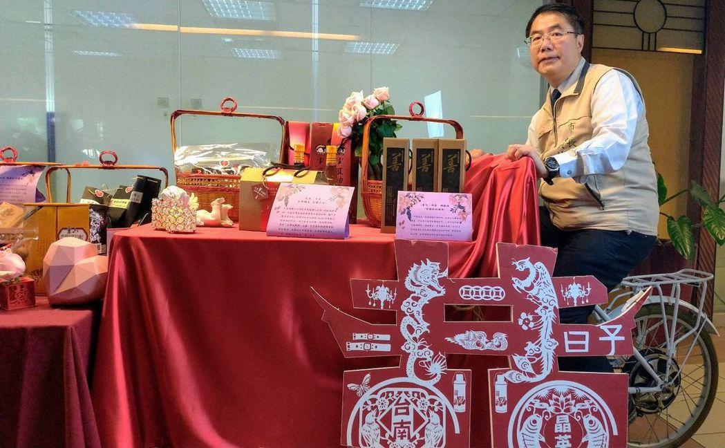 黃偉哲市長將代表市府贈送「臺南女兒」林志玲「嫁妝一牛車」。  陳慧明 攝影
