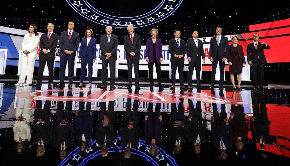 民主黨10個參選人符合亞特蘭大辯論標準。 美聯社