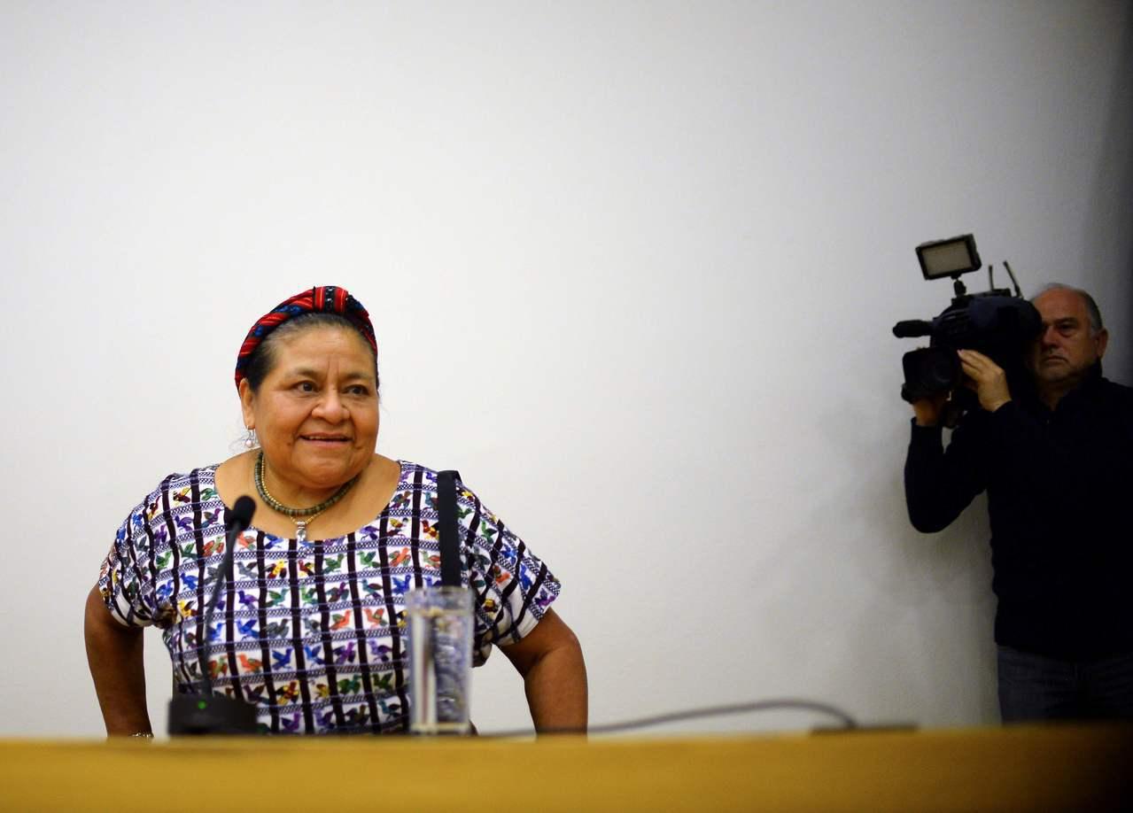 1992年諾貝爾和平獎得主孟竹曾流亡墨西哥。 (法新社)