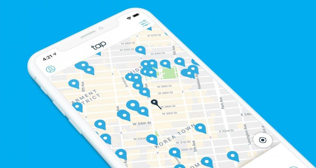 一款名為「Tap」的 app,提供使用者最近的免費飲用水取用地點與路線。 圖/T...