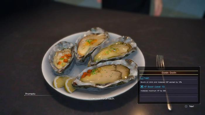 《Final Fantasy XV》中逼真的食物。