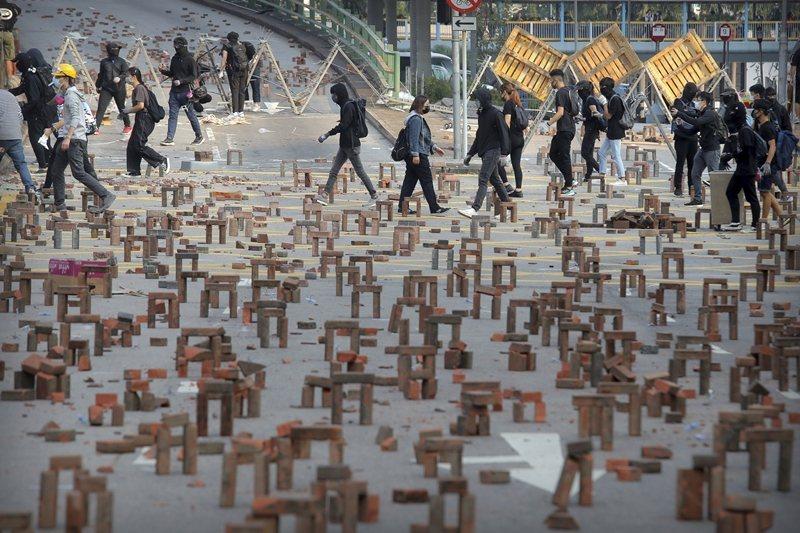 攝於11月14日,香港理工大學。 圖/美聯社