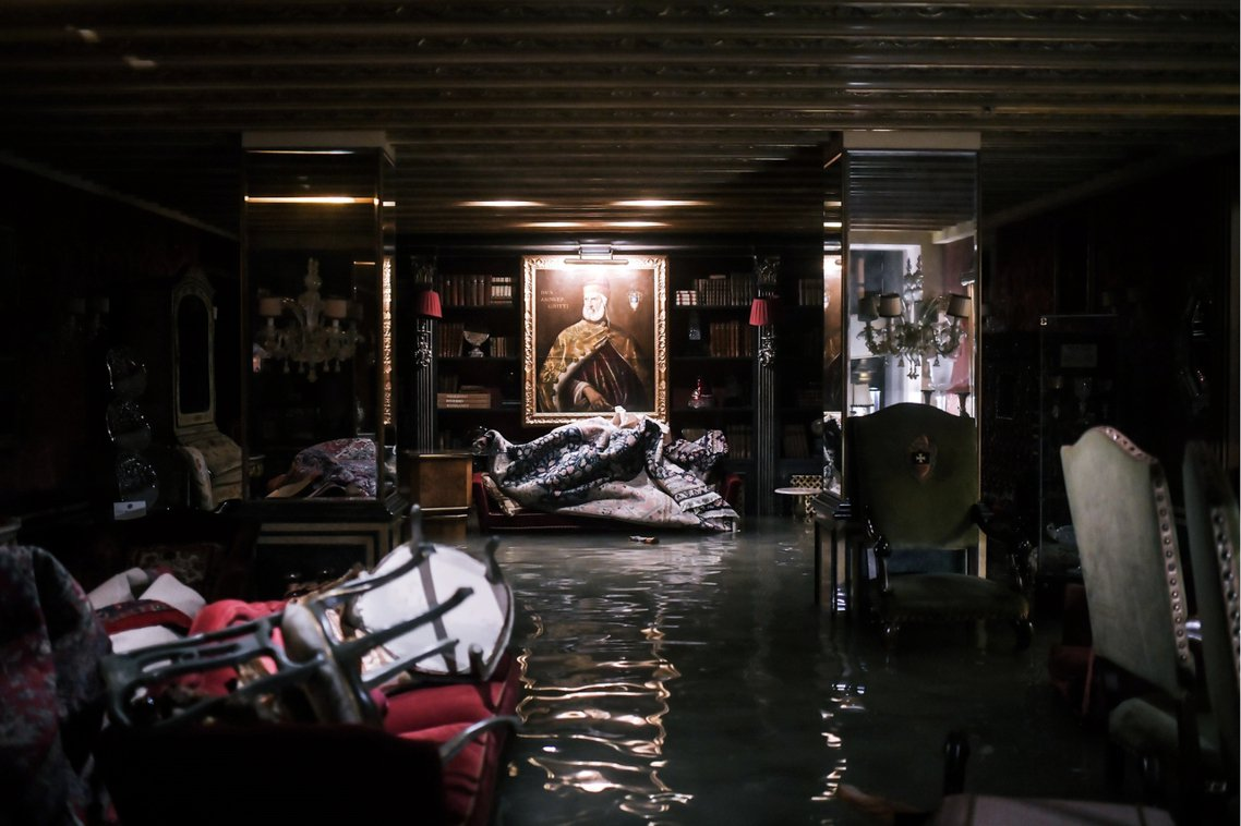 格麗蒂宮五星級飯店(Gritti Palace)也遭淹水。 圖/法新社