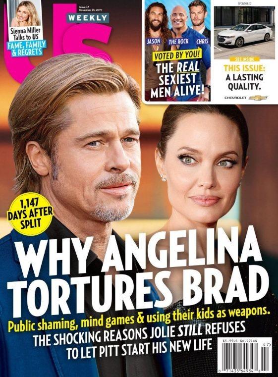 安琪莉娜裘莉被封面報導指出狠招折磨布萊德彼特的心情。圖/摘自Us