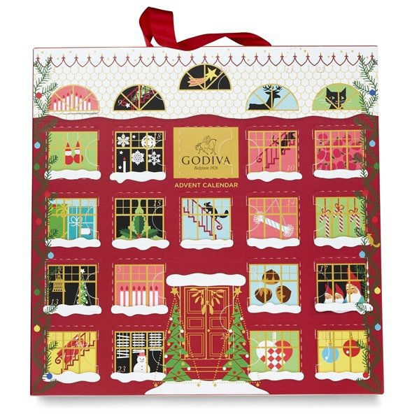 GODIVA耶誕倒數日曆巧克力禮盒24顆裝,售價2,400元。圖/GODIVA提...