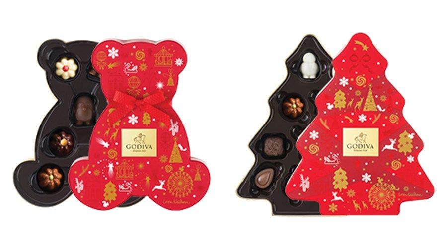 耶誕小熊禮盒7顆裝,售價1,200元;小樹禮盒10顆裝,售價1,500元。圖/G...