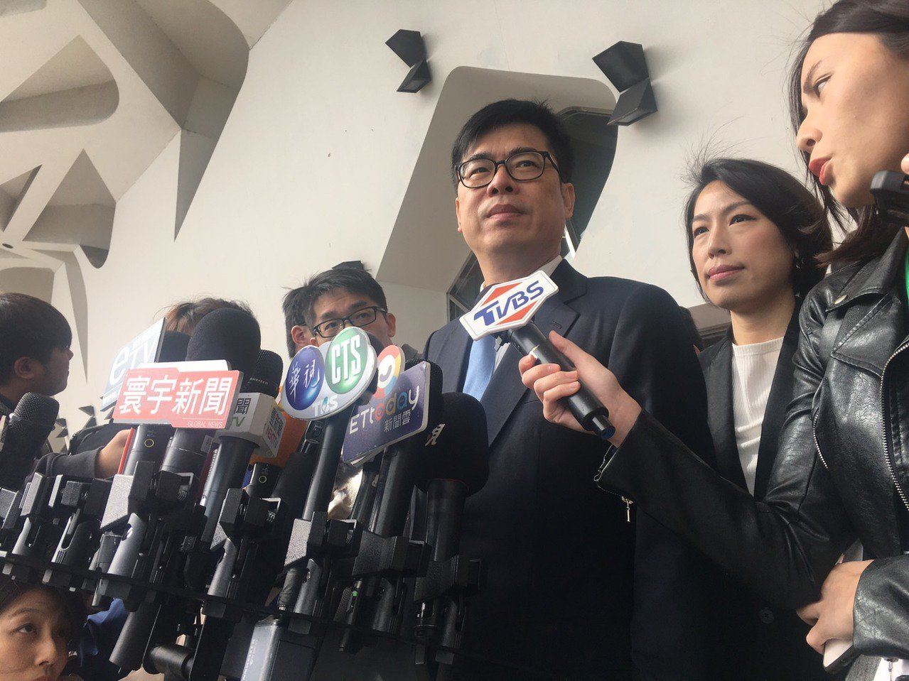 行政院副院長陳其邁上午參加2019Meet Taipei創新創業嘉年華,會前接受...