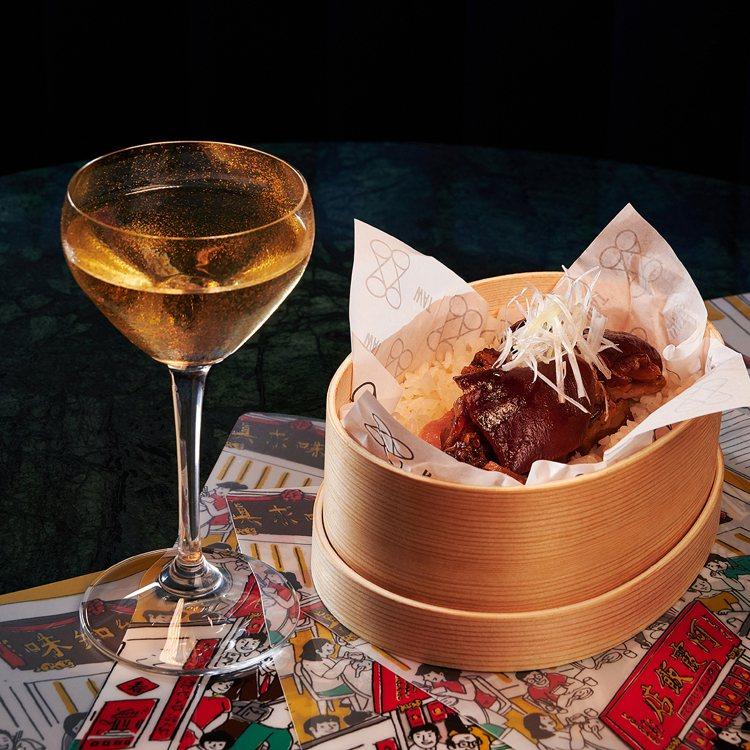 「金桔」調酒與滷豬腳便當。圖/WAT提供【提醒您:酒後不開車、開車不喝酒】