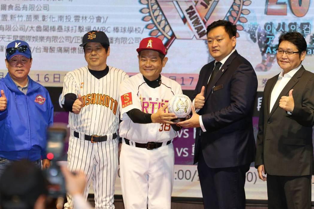 台日韓3地演藝明星組成的3支球隊,今日起到17日在桃園青埔棒球場進行5場比賽,眾...