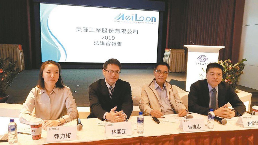 美隆電舉行法說會,由董事長吳維忠(右二)主持。他表示,在台灣斥資20億元,設立全...
