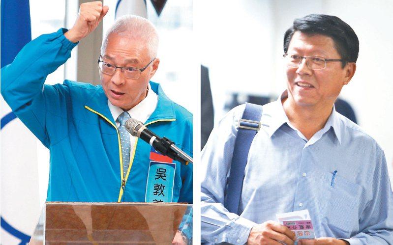 國民黨黨主席吳敦義(左)出席中央委員會議,呼籲團結一致下架民進黨。被提名不分區立委的謝龍介(右)會中發言,坦言將思考退出不分區,明年大選後將參選國民黨主席。 記者蘇健忠/攝影