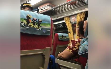 大媽佔用車道遭列車長勸阻。圖/取自爆料公社